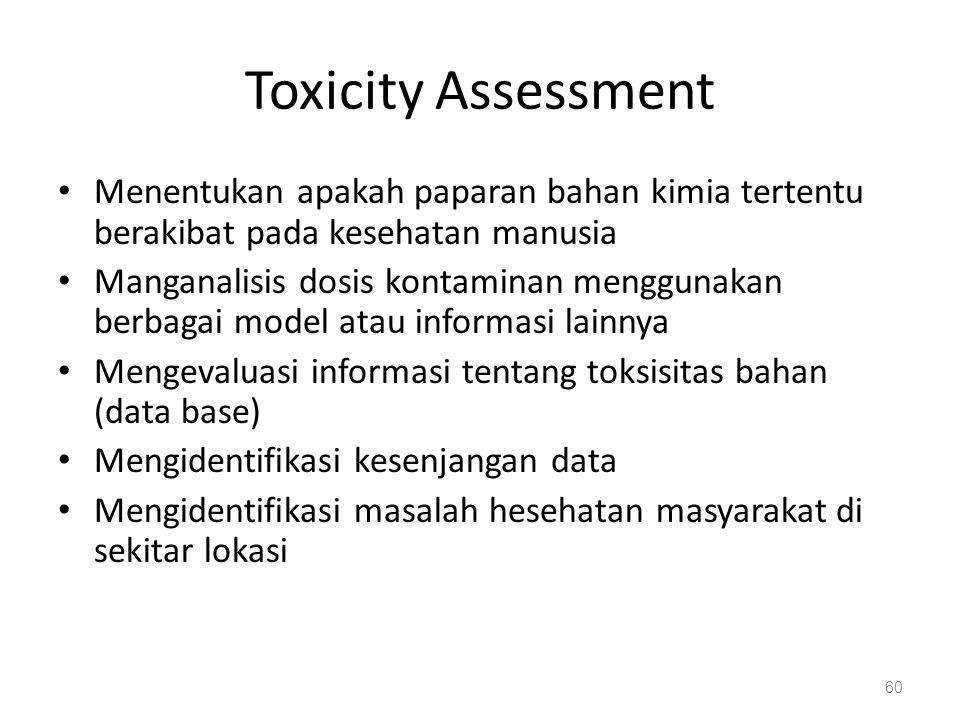 Toxicity Assessment Menentukan apakah paparan bahan kimia tertentu berakibat pada kesehatan manusia.