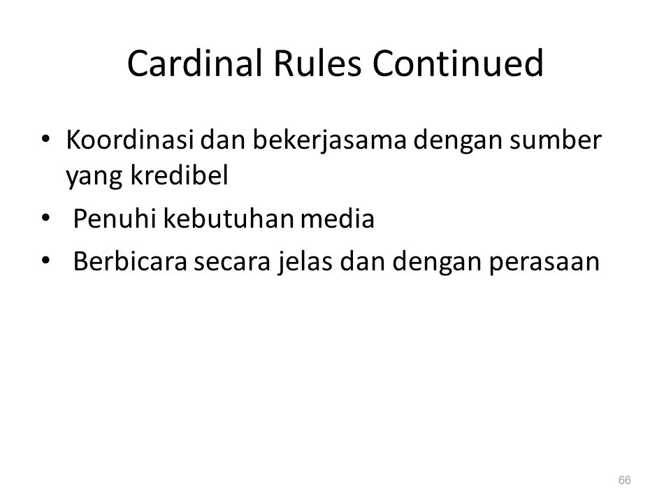 Cardinal Rules Continued