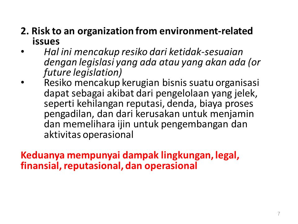 2. Risk to an organization from environment-related issues