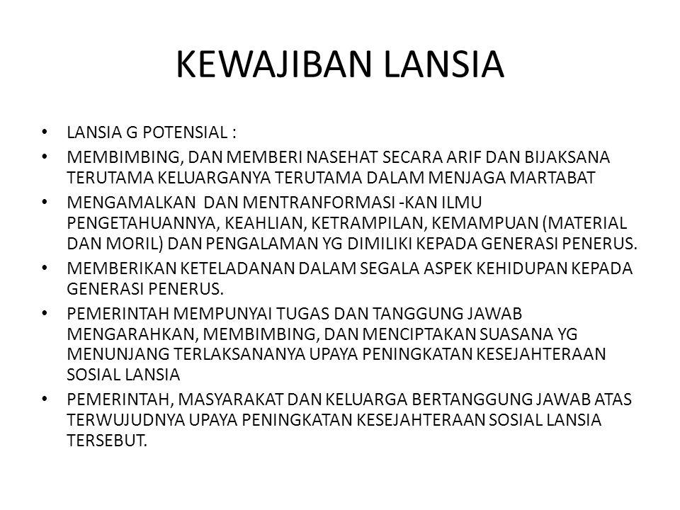 KEWAJIBAN LANSIA LANSIA G POTENSIAL :