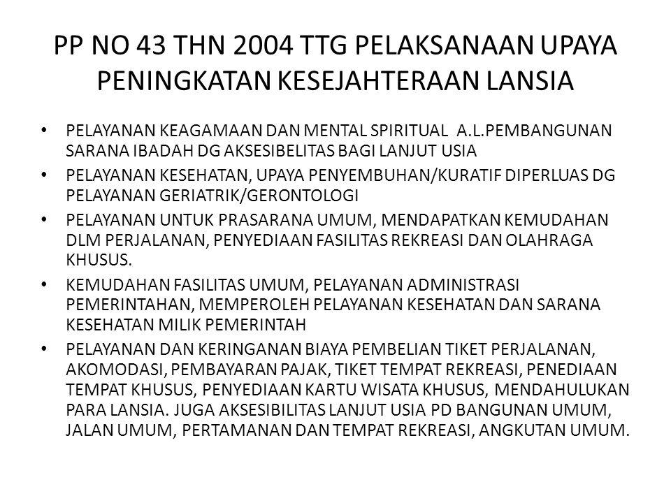 PP NO 43 THN 2004 TTG PELAKSANAAN UPAYA PENINGKATAN KESEJAHTERAAN LANSIA