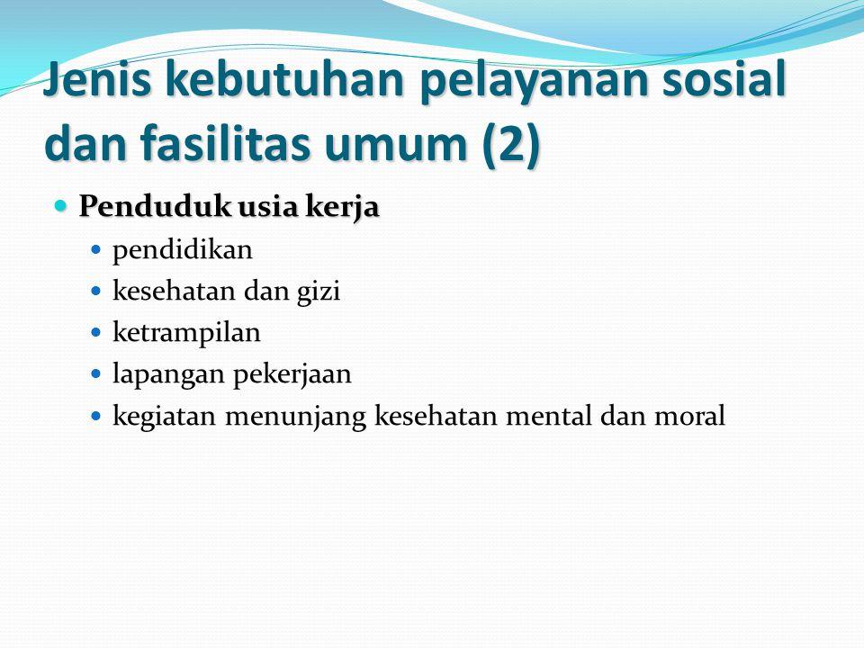 Jenis kebutuhan pelayanan sosial dan fasilitas umum (2)