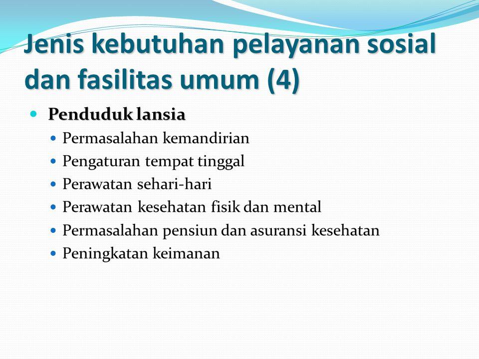 Jenis kebutuhan pelayanan sosial dan fasilitas umum (4)