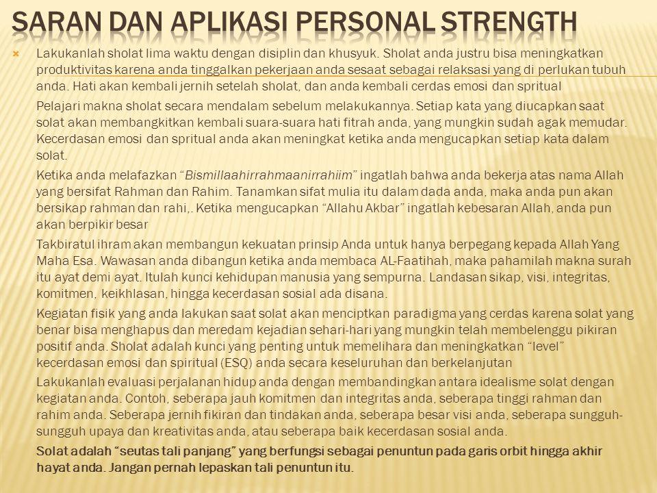 Saran dan aplikasi personal strength