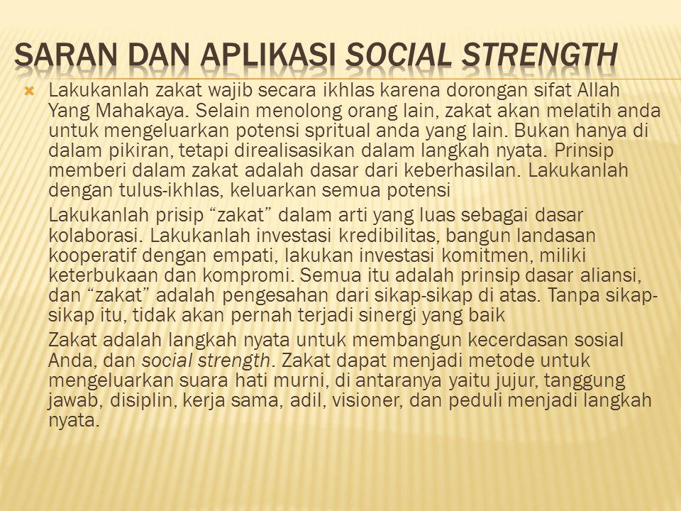 Saran dan aplikasi social strength
