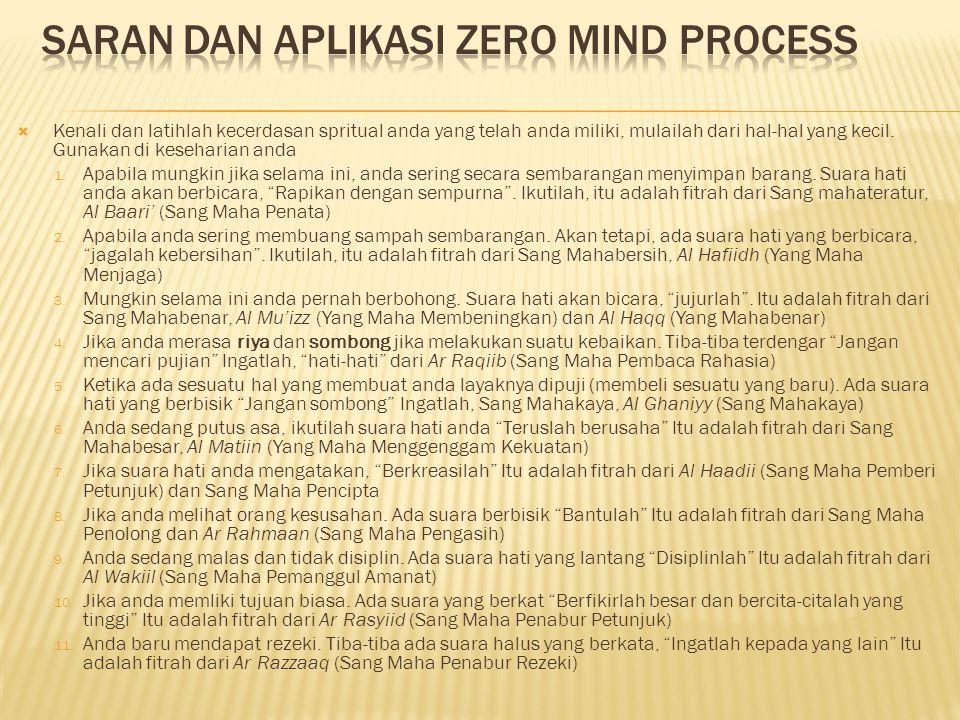 Saran Dan Aplikasi ZERO MIND Process