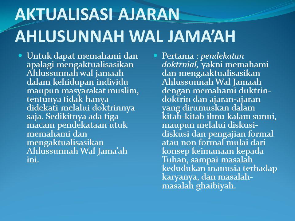 AKTUALISASI AJARAN AHLUSUNNAH WAL JAMA'AH