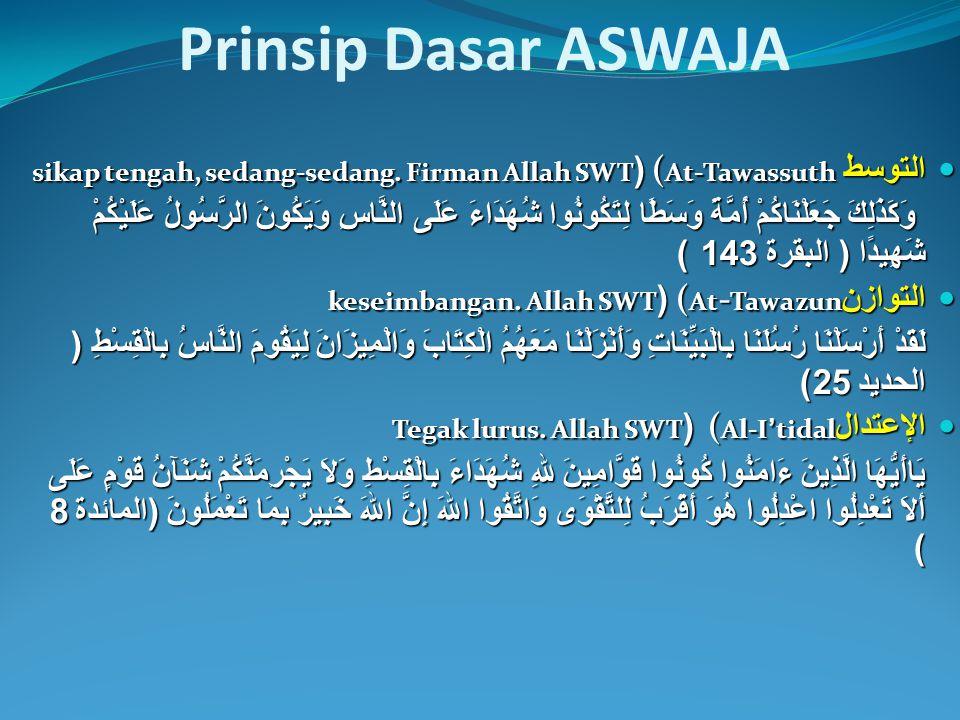 Prinsip Dasar ASWAJA التوسط (At-Tawassuth (sikap tengah, sedang-sedang. Firman Allah SWT.