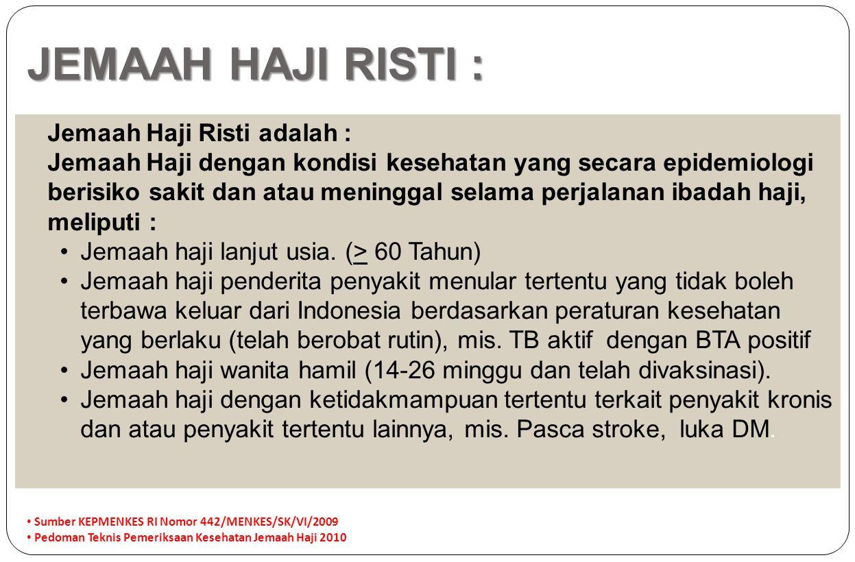 JEMAAH HAJI RISTI : Jemaah Haji Risti adalah :