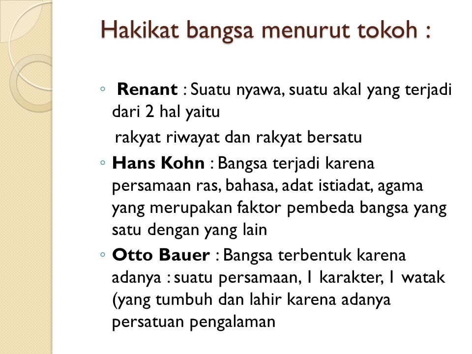 Hakikat bangsa menurut tokoh :