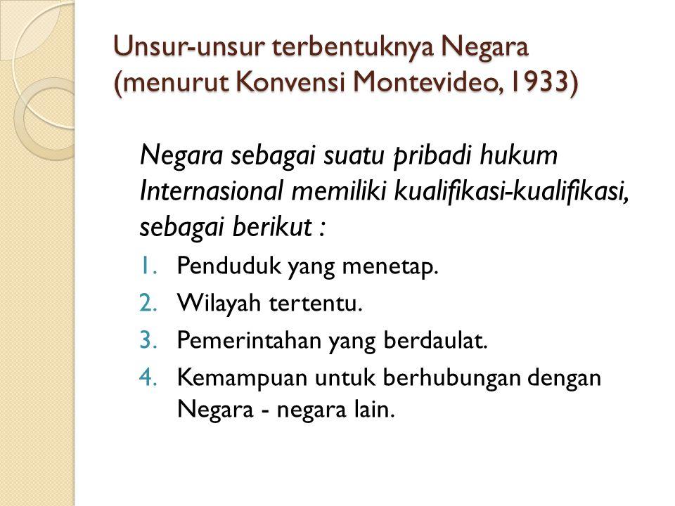 Unsur-unsur terbentuknya Negara (menurut Konvensi Montevideo, 1933)