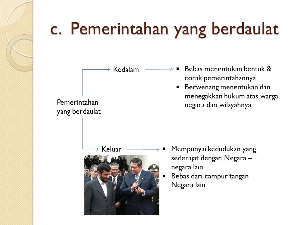 c. Pemerintahan yang berdaulat
