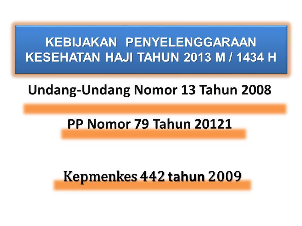 KEBIJAKAN PENYELENGGARAAN KESEHATAN HAJI TAHUN 2013 M / 1434 H