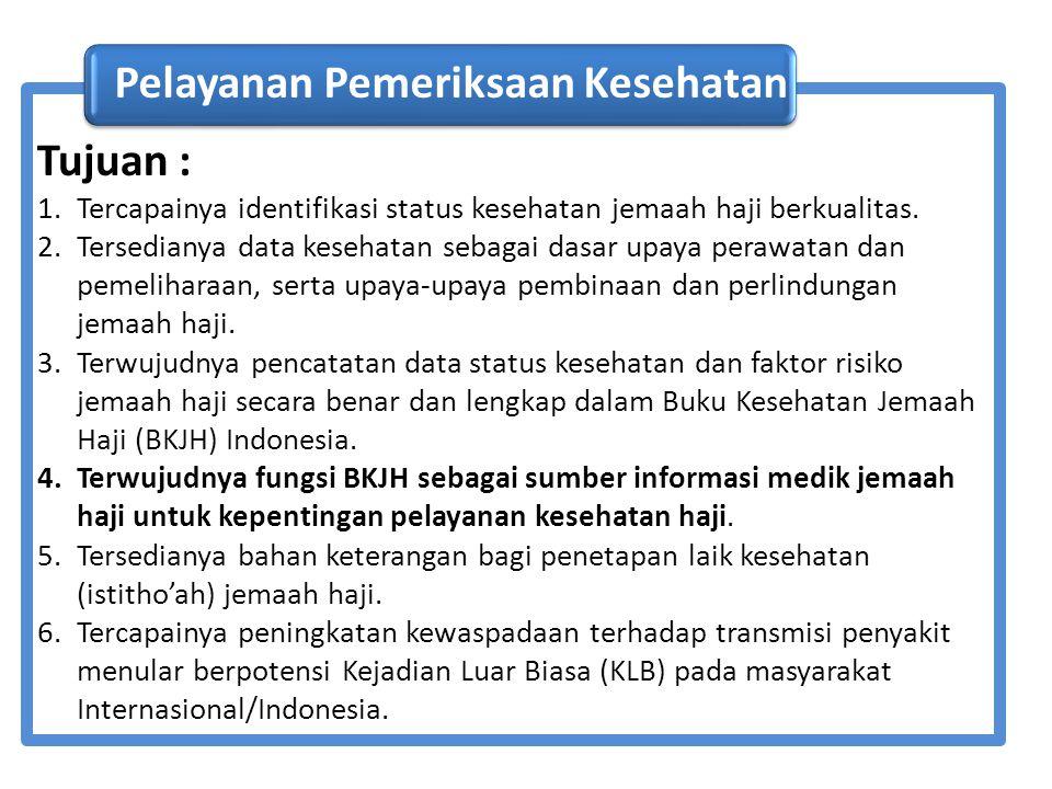 Pelayanan Pemeriksaan Kesehatan Tujuan :