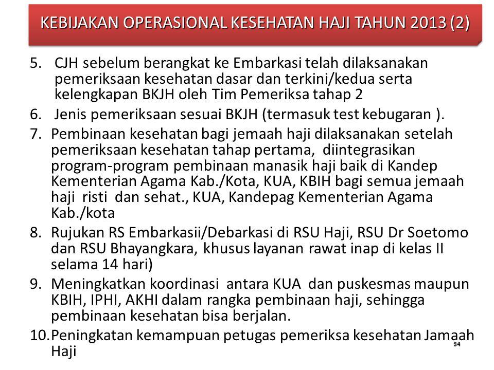 KEBIJAKAN OPERASIONAL KESEHATAN HAJI TAHUN 2013 (2)