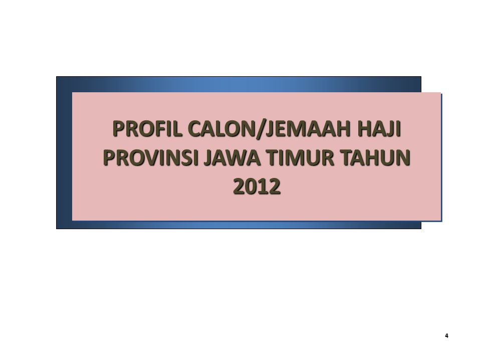 PROFIL CALON/JEMAAH HAJI PROVINSI JAWA TIMUR TAHUN 2012