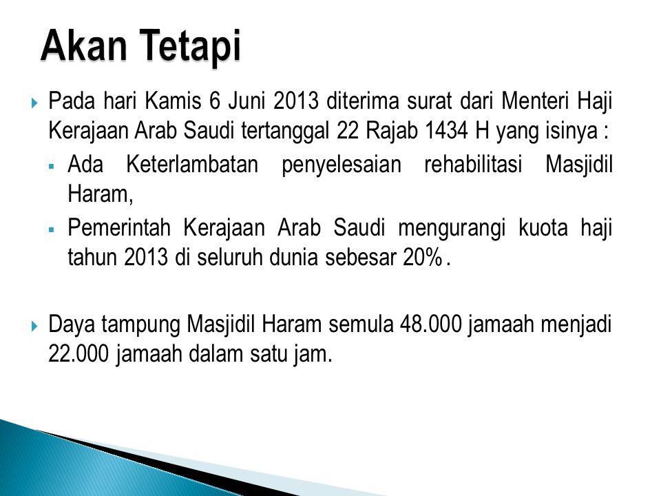 Akan Tetapi Pada hari Kamis 6 Juni 2013 diterima surat dari Menteri Haji Kerajaan Arab Saudi tertanggal 22 Rajab 1434 H yang isinya :