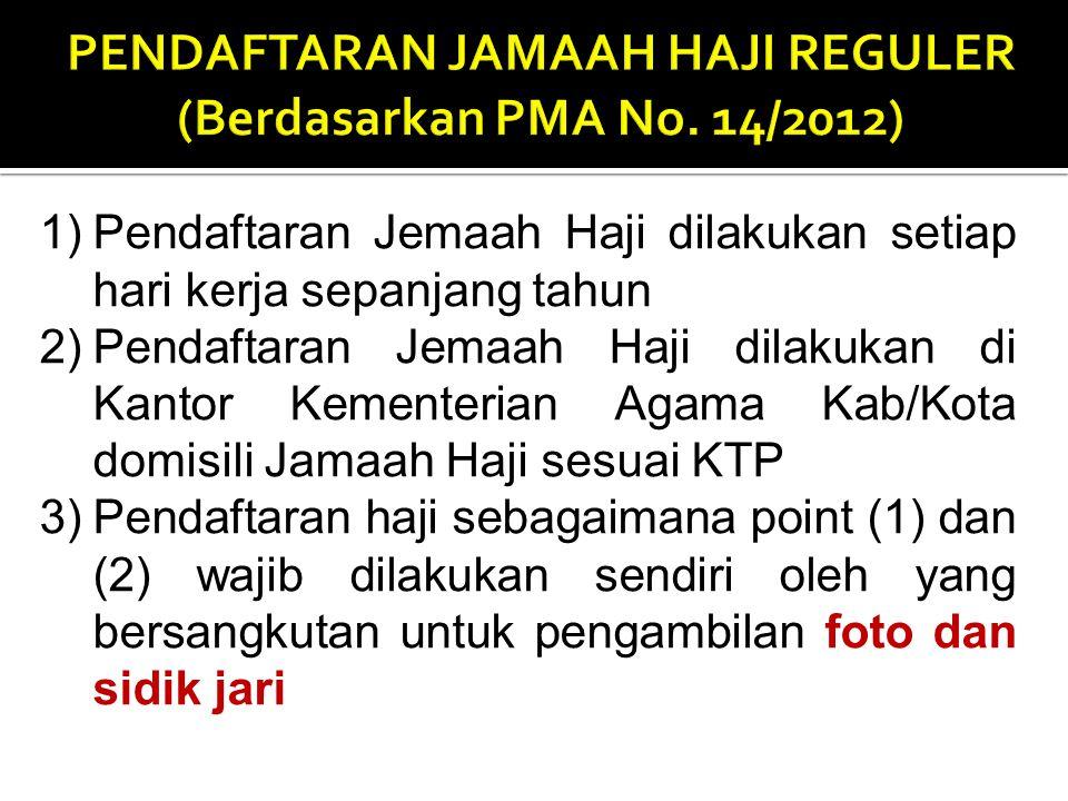 PENDAFTARAN JAMAAH HAJI REGULER (Berdasarkan PMA No. 14/2012)