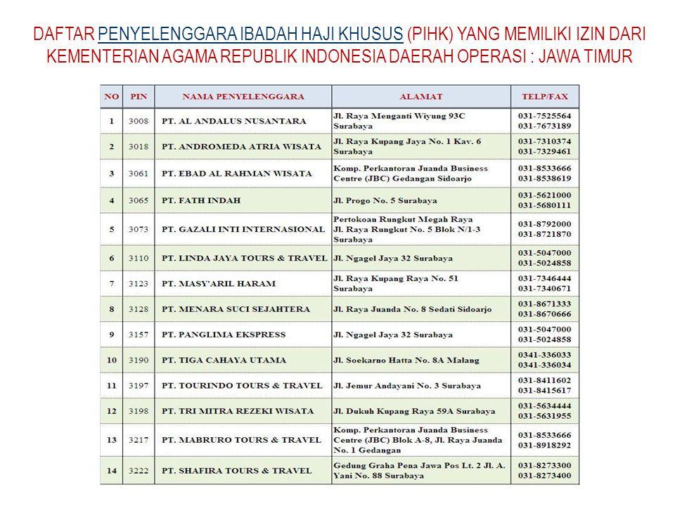 DAFTAR PENYELENGGARA IBADAH HAJI KHUSUS (PIHK) YANG MEMILIKI IZIN DARI KEMENTERIAN AGAMA REPUBLIK INDONESIA DAERAH OPERASI : JAWA TIMUR