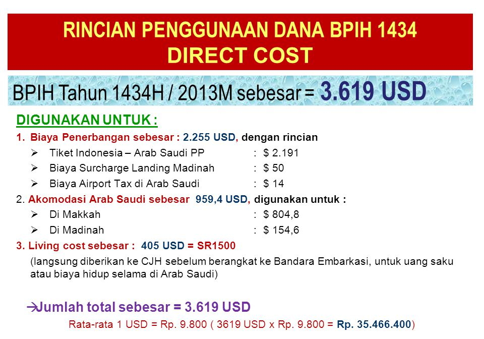 RINCIAN PENGGUNAAN DANA BPIH 1434 DIRECT COST