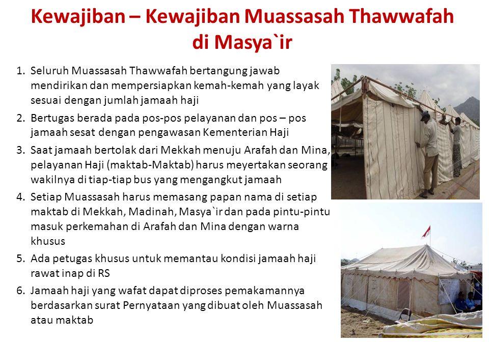 Kewajiban – Kewajiban Muassasah Thawwafah di Masya`ir