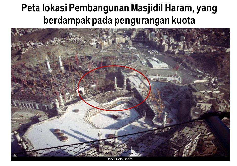Peta lokasi Pembangunan Masjidil Haram, yang berdampak pada pengurangan kuota