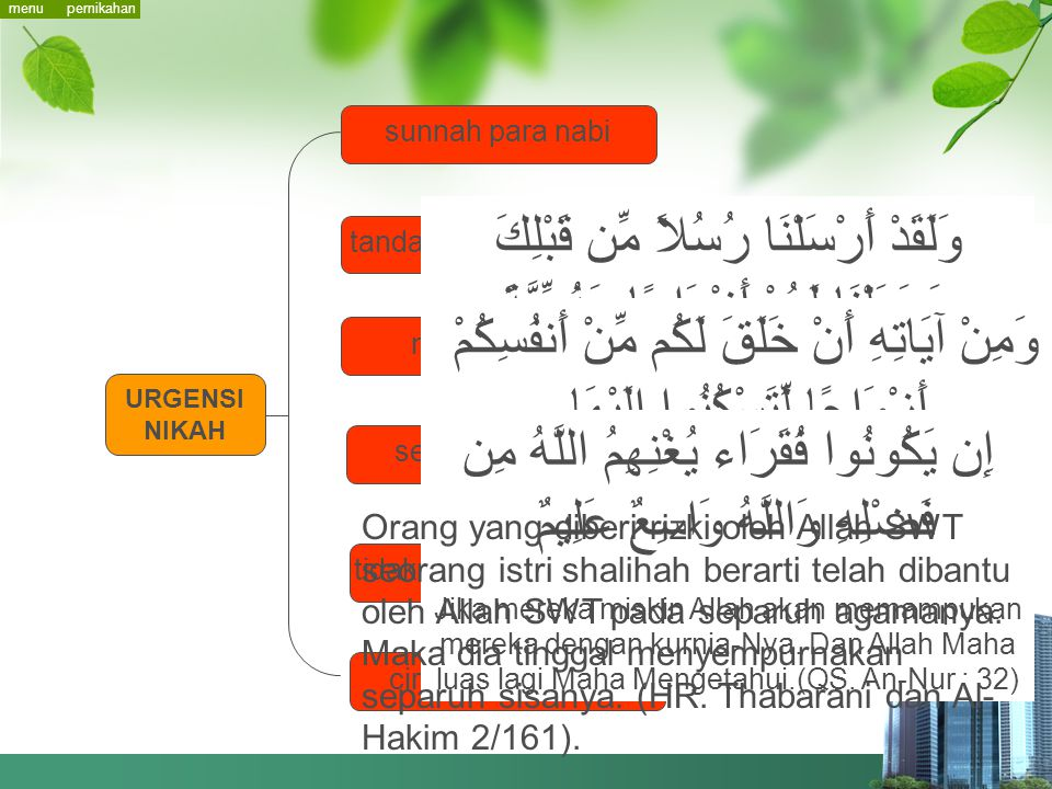 menu pernikahan. sunnah para nabi. وَلَقَدْ أَرْسَلْنَا رُسُلاً مِّن قَبْلِكَ وَجَعَلْنَا لَهُمْ أَزْوَاجًا وَذُرِّيَّةً