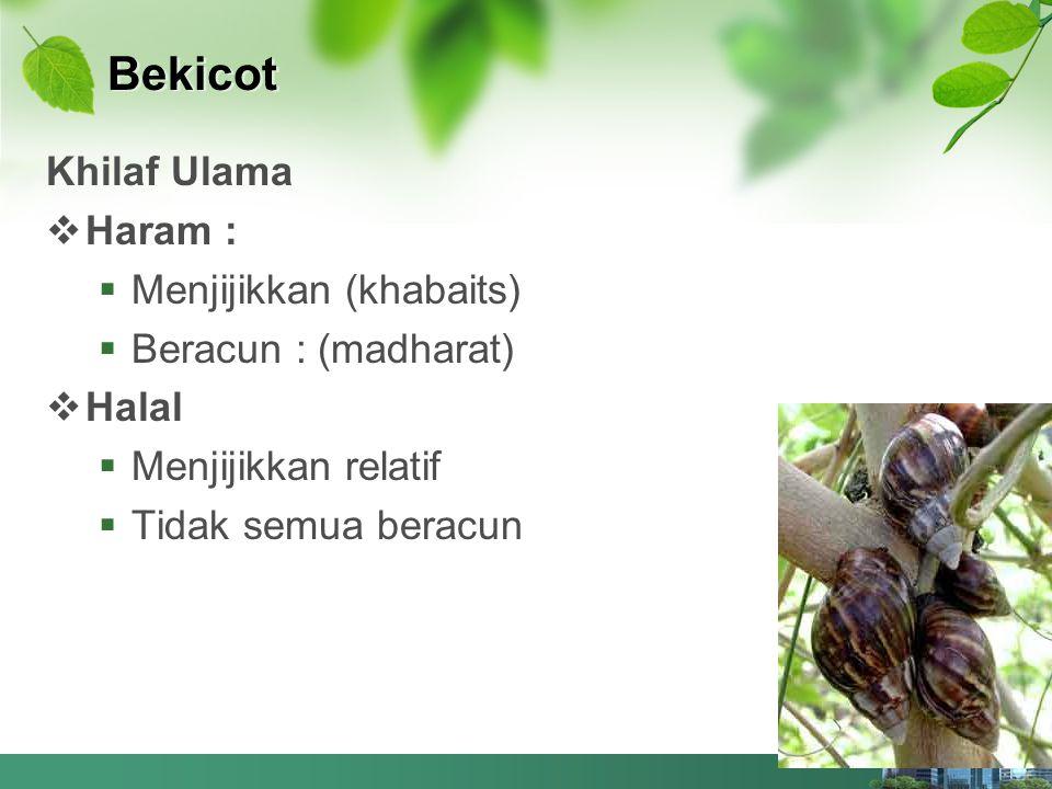 Bekicot Khilaf Ulama Haram : Menjijikkan (khabaits)