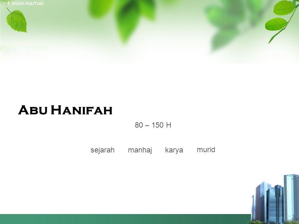 > 4 imam mazhab Abu Hanifah 80 – 150 H sejarah manhaj karya murid