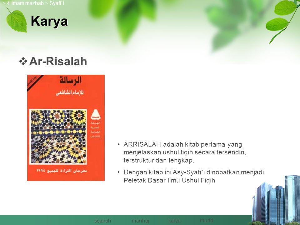 > 4 imam mazhab > Syafi`i. Karya. Ar-Risalah.
