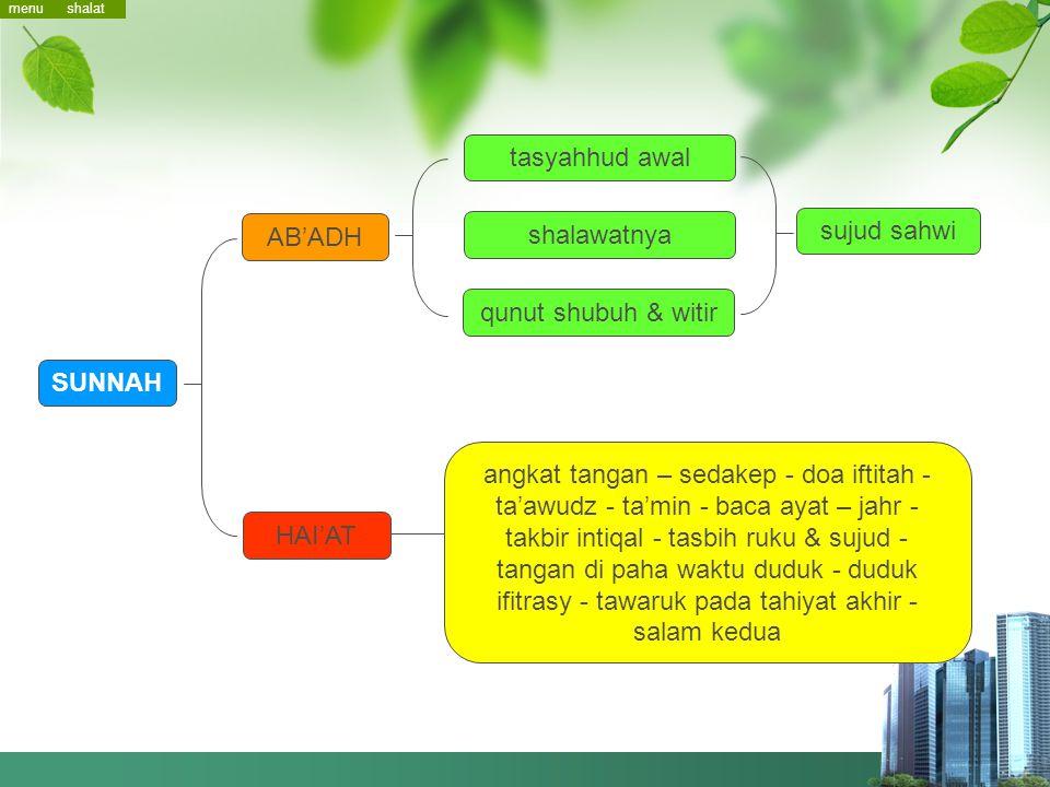 tasyahhud awal sujud sahwi AB'ADH shalawatnya qunut shubuh & witir