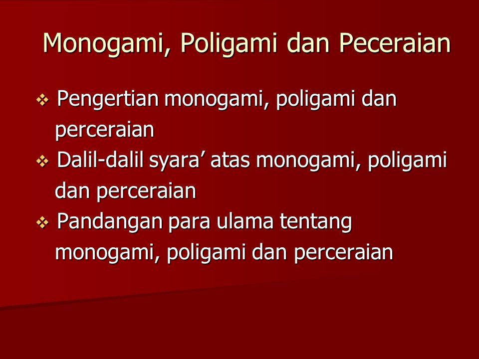 Monogami, Poligami dan Peceraian