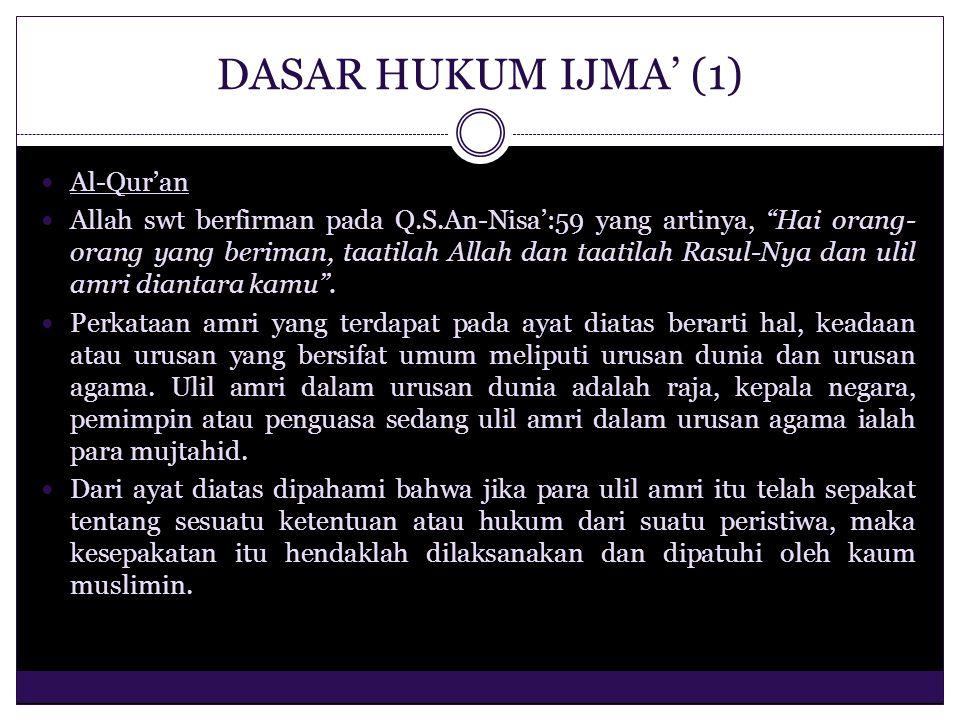 DASAR HUKUM IJMA' (1) Al-Qur'an