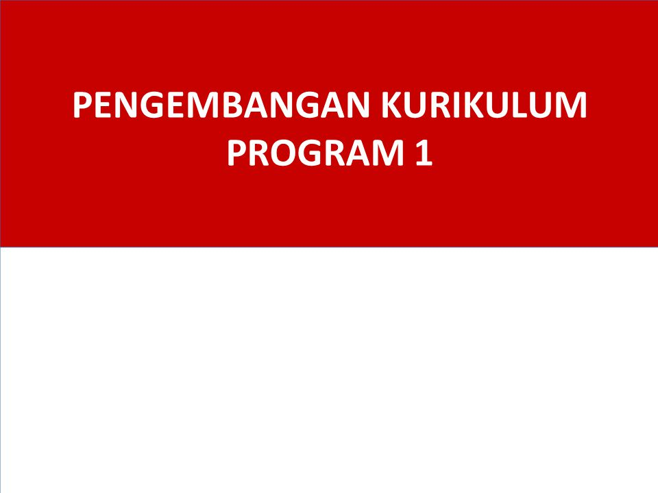 PENGEMBANGAN KURIKULUM PROGRAM 1