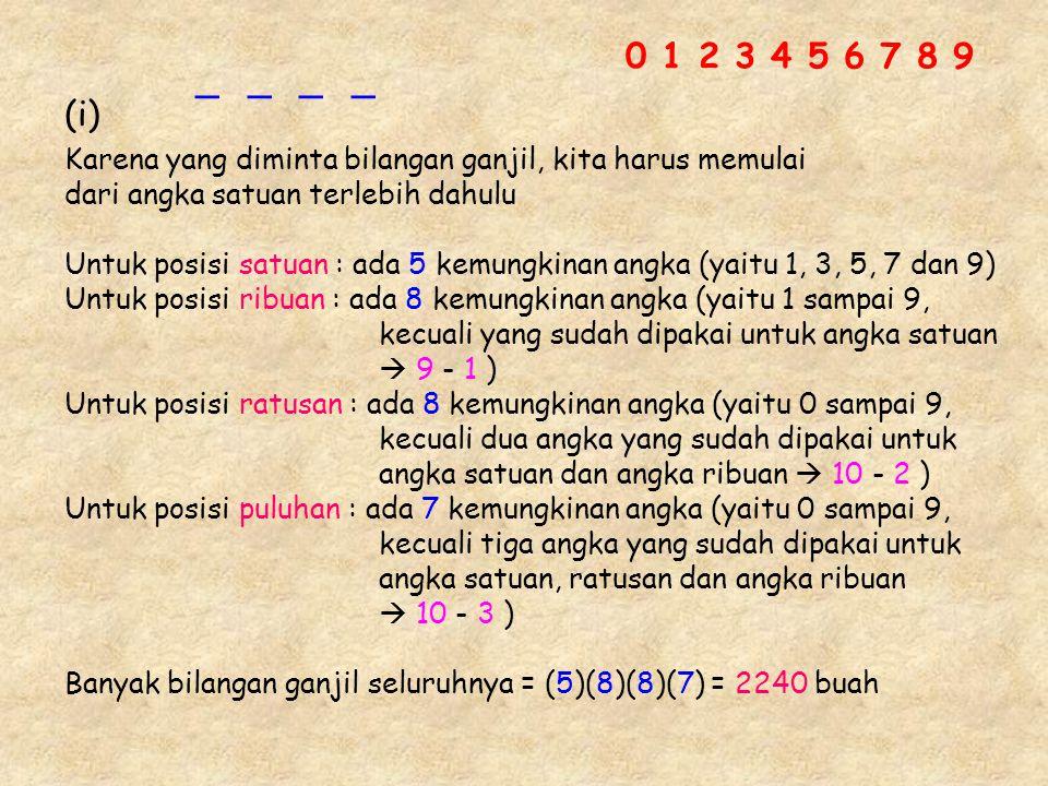 0 1 2 3 4 5 6 7 8 9 _ _ _ _. (i) Karena yang diminta bilangan ganjil, kita harus memulai. dari angka satuan terlebih dahulu.