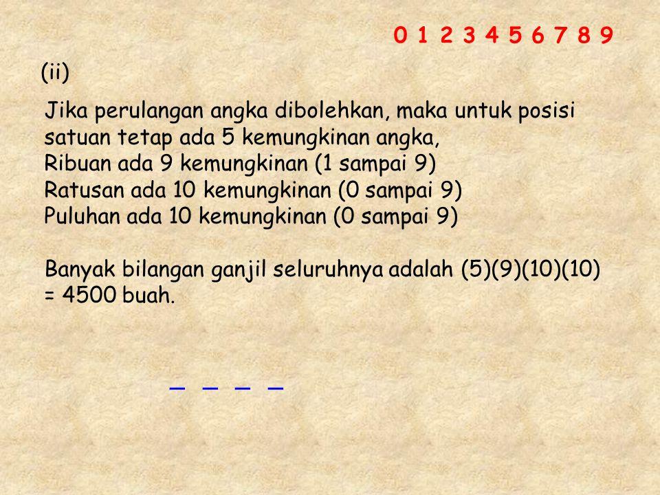 0 1 2 3 4 5 6 7 8 9 (ii) Jika perulangan angka dibolehkan, maka untuk posisi. satuan tetap ada 5 kemungkinan angka,
