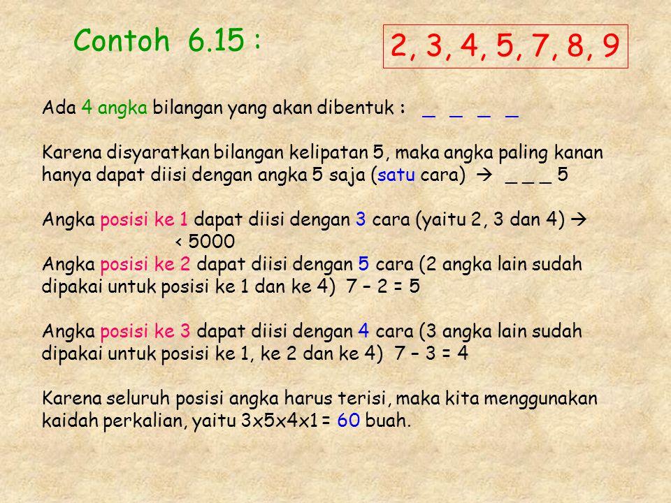 Contoh 6.15 : 2, 3, 4, 5, 7, 8, 9. Ada 4 angka bilangan yang akan dibentuk : _ _ _ _.