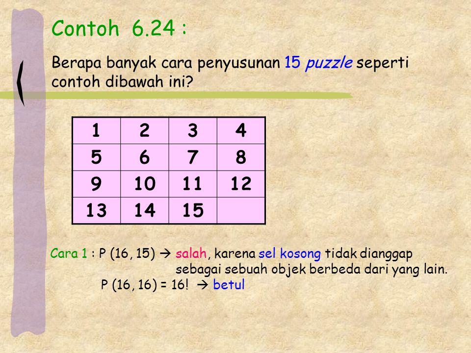 Contoh 6.24 : Berapa banyak cara penyusunan 15 puzzle seperti. contoh dibawah ini 1. 2. 3. 4.