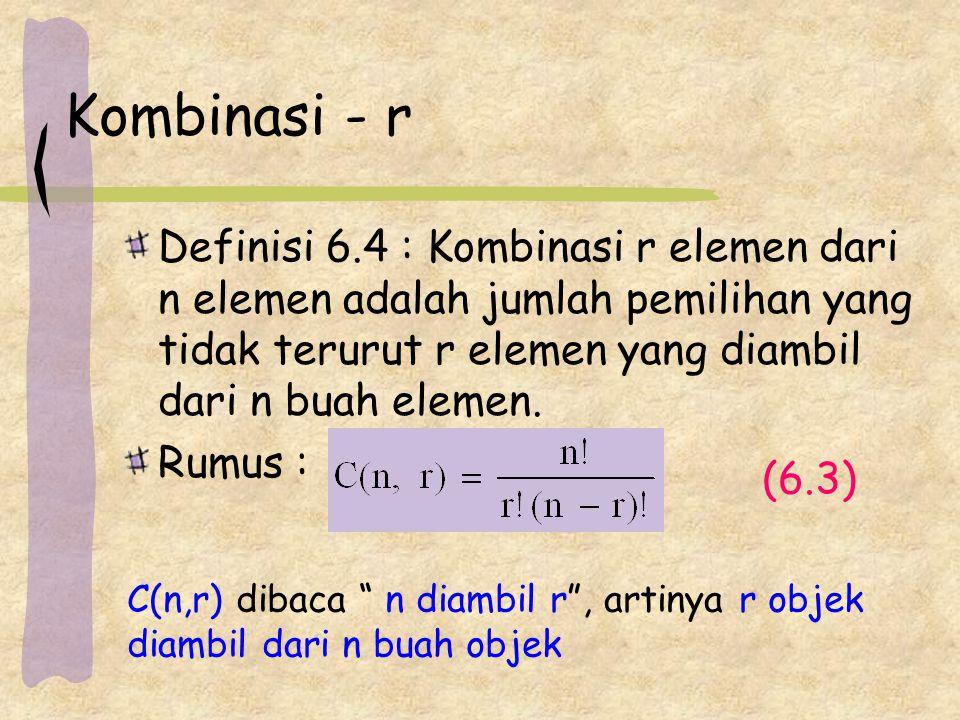 Kombinasi - r Definisi 6.4 : Kombinasi r elemen dari n elemen adalah jumlah pemilihan yang tidak terurut r elemen yang diambil dari n buah elemen.