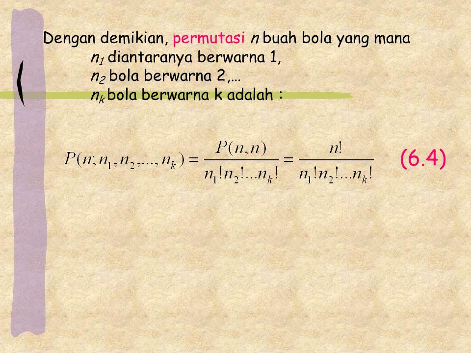 (6.4) Dengan demikian, permutasi n buah bola yang mana