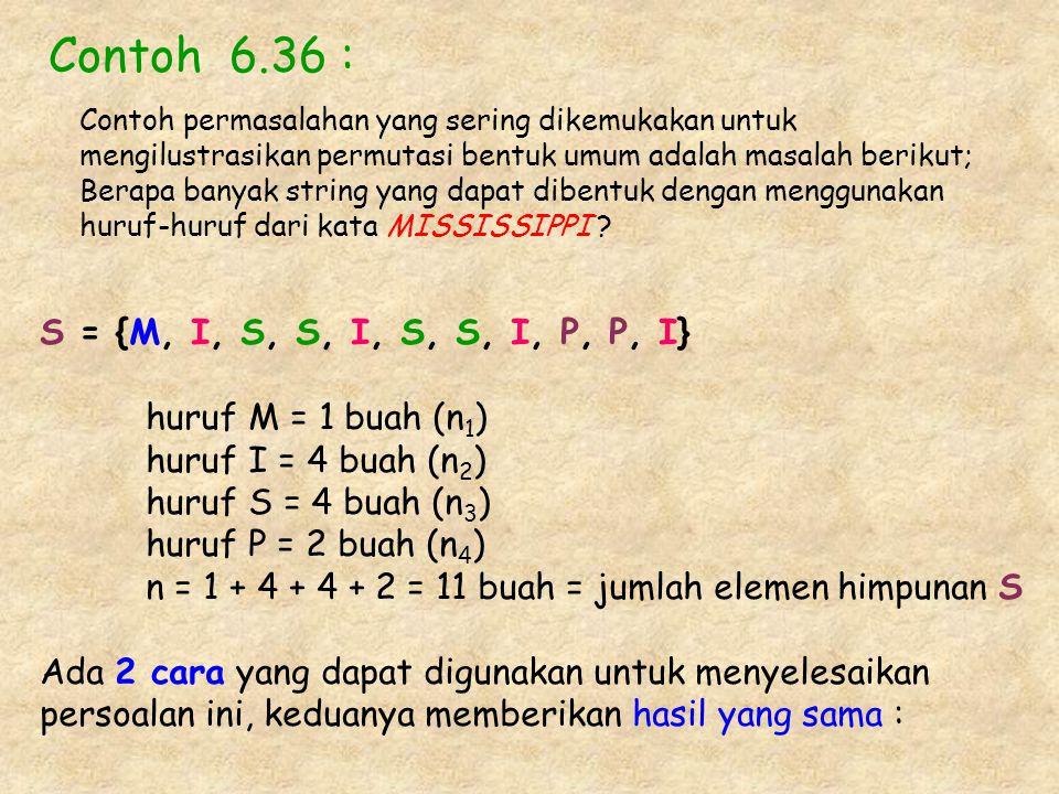 Contoh 6.36 : S = {M, I, S, S, I, S, S, I, P, P, I}