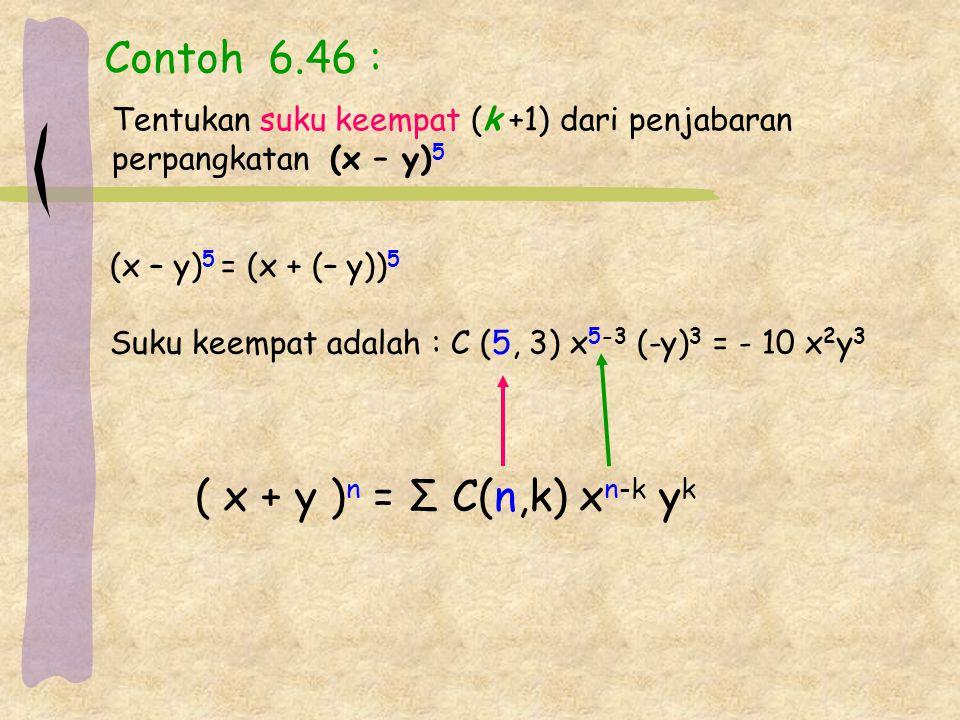 Contoh 6.46 : ( x + y )n = Σ C(n,k) xn-k yk
