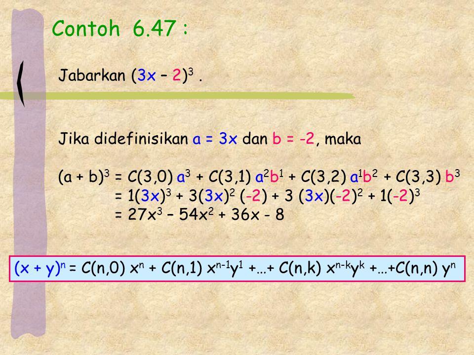 Contoh 6.47 : Jabarkan (3x – 2)3 . Jika didefinisikan a = 3x dan b = -2, maka. (a + b)3 = C(3,0) a3 + C(3,1) a2b1 + C(3,2) a1b2 + C(3,3) b3.