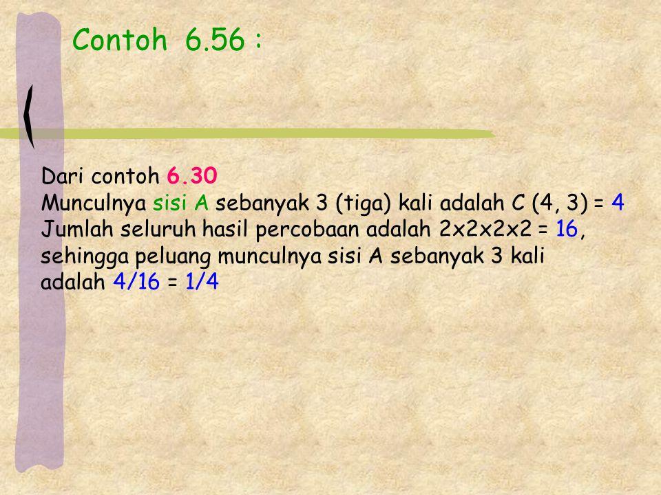 Contoh 6.56 : Dari contoh 6.30. Munculnya sisi A sebanyak 3 (tiga) kali adalah C (4, 3) = 4. Jumlah seluruh hasil percobaan adalah 2x2x2x2 = 16,