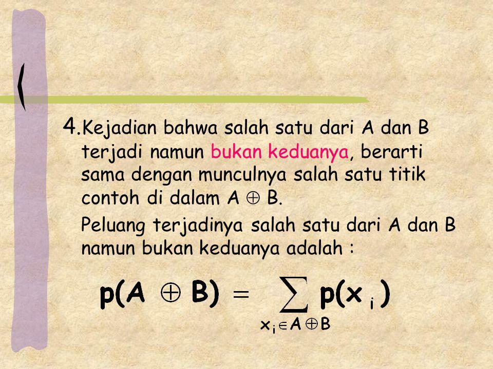 4.Kejadian bahwa salah satu dari A dan B terjadi namun bukan keduanya, berarti sama dengan munculnya salah satu titik contoh di dalam A  B.