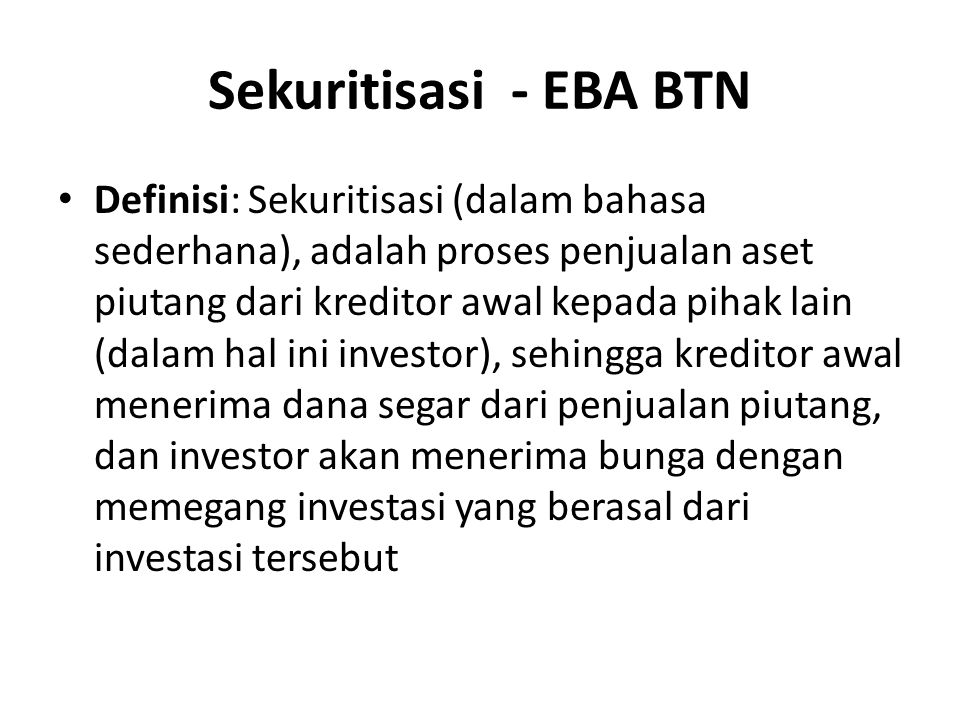 Sekuritisasi - EBA BTN