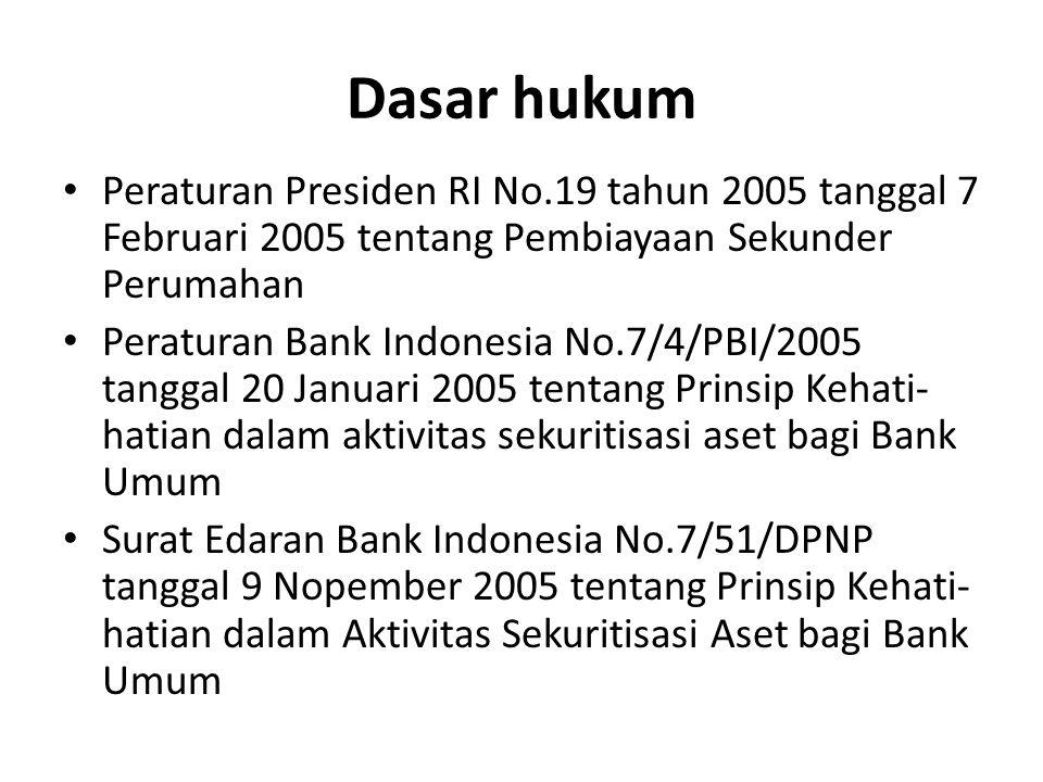 Dasar hukum Peraturan Presiden RI No.19 tahun 2005 tanggal 7 Februari 2005 tentang Pembiayaan Sekunder Perumahan.