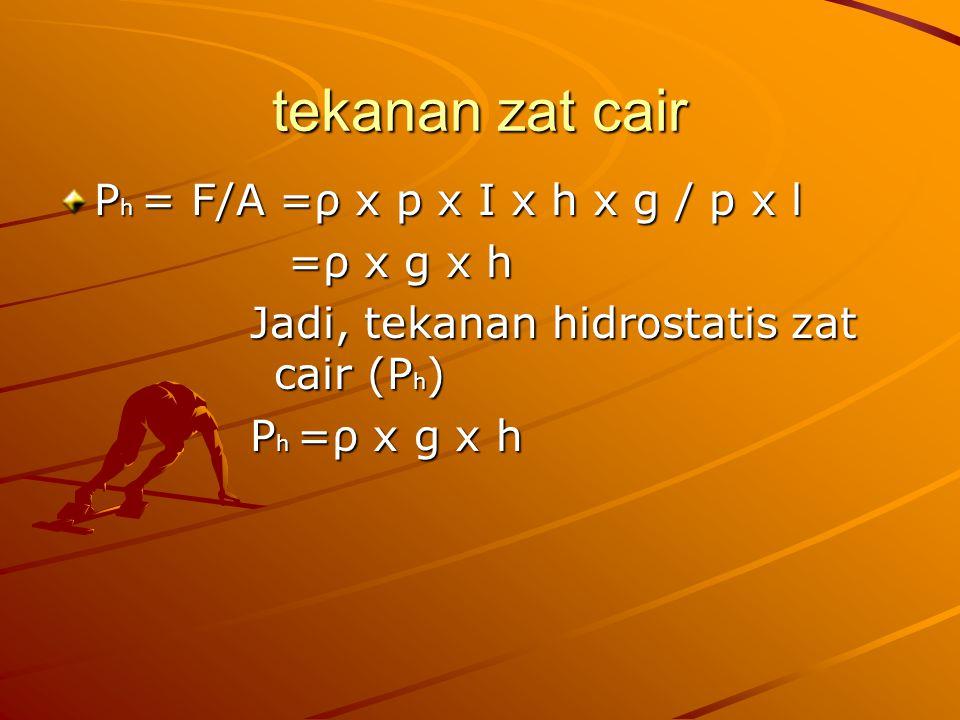tekanan zat cair Ph = F/A =ρ x p x I x h x g / p x l