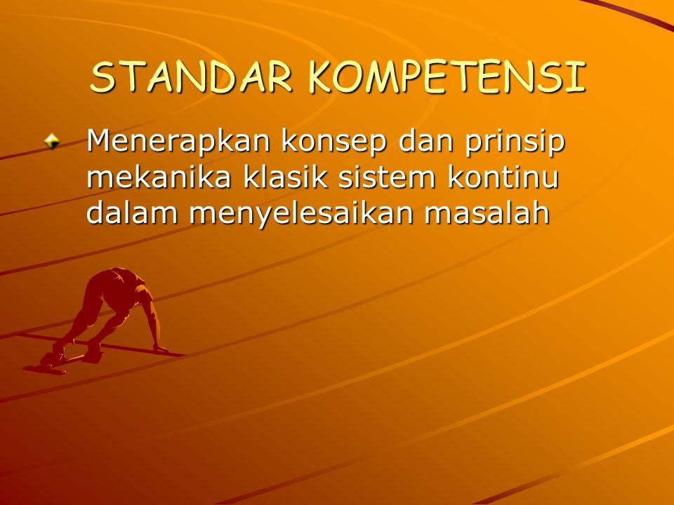 STANDAR KOMPETENSI Menerapkan konsep dan prinsip mekanika klasik sistem kontinu dalam menyelesaikan masalah.