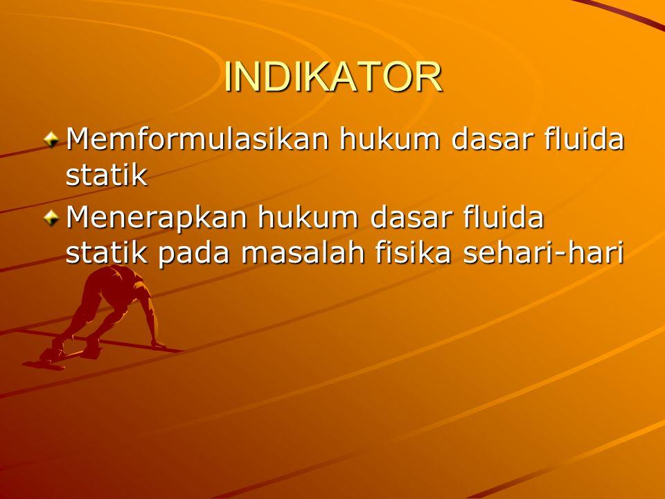 INDIKATOR Memformulasikan hukum dasar fluida statik
